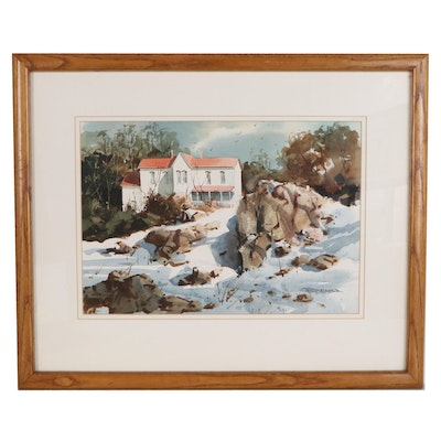 Robert Brubaker Winter Landscape Watercolor Painting, Late 20th Century