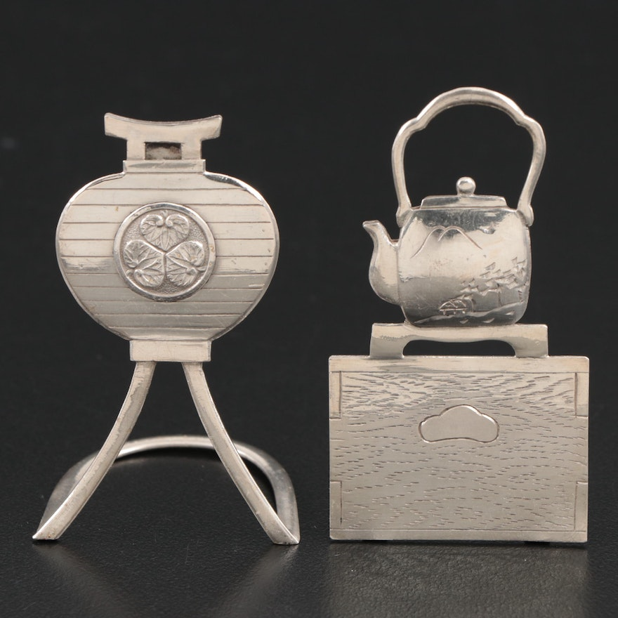 Sterling Silver Japanese Teapot and Vase Form Place Card Holders