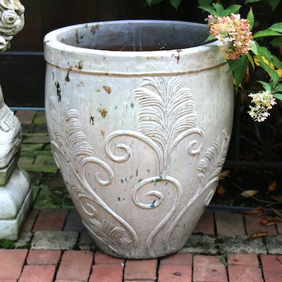 Scroll and Foliate Pattern Earthenware Outdoor Planter, Contemporary