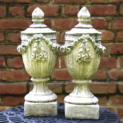 Pair of Neoclassical Style Concrete Outdoor Urn Ornaments