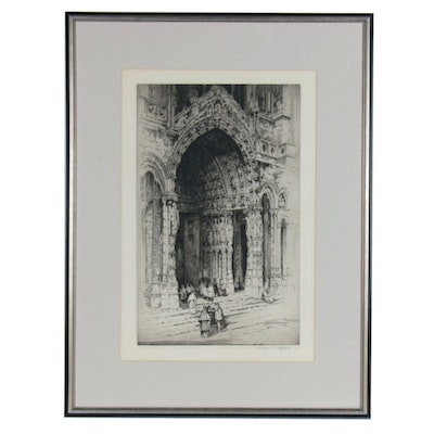 Andrew F. Affleck Etching of Chartres Cathedral Doorway, circa 1917