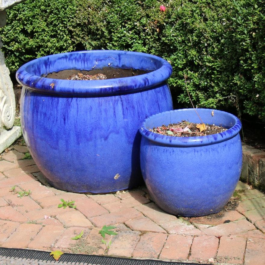 Drip Glazed Earthenware Outdoor Planters