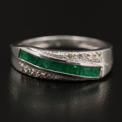 Sterling Silver Emerald and Diamond Channel Band