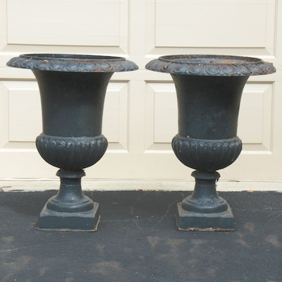 Pair of Neoclassical Style Painted Black Cast Iron Outdoor Pedestal Planters