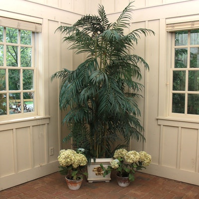 Artificial Bamboo Tree in Square Gilt Planter and Potted Hydrangeas