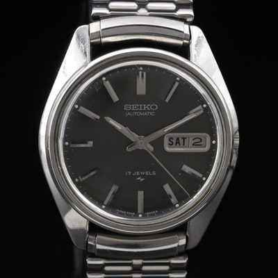 Seiko Stainless Steel Automatic Day/Date Wristwatch