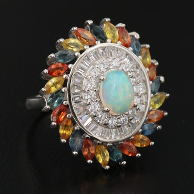 Sterling Silver Opal, Sapphire and Cubic Zirconia Ring