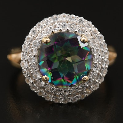 Sterling Silver Mystic Topaz and Sapphire Double Halo Ring