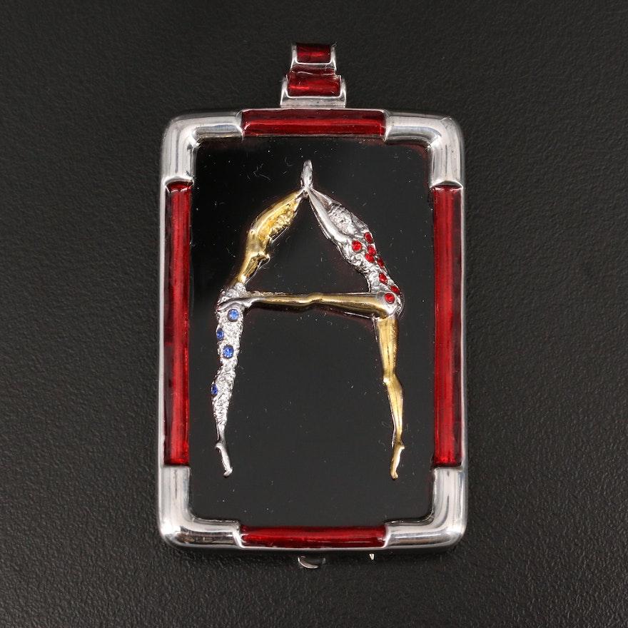 Erte Letter A Sterling Black Onyx, Glass and Enamel Figural Dancers Brooch