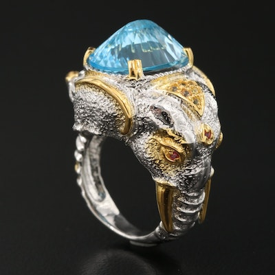 Sterling Topaz and Sapphire Elephant Ring