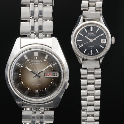 Pair of Seiko Stainless Steel Automatic Wristwatches