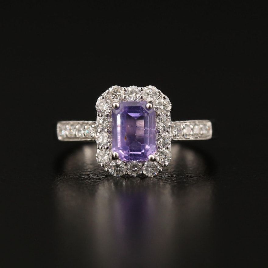 18K 1.47 CT Unheated Purple Sapphire and Diamond Ring with GIA Report