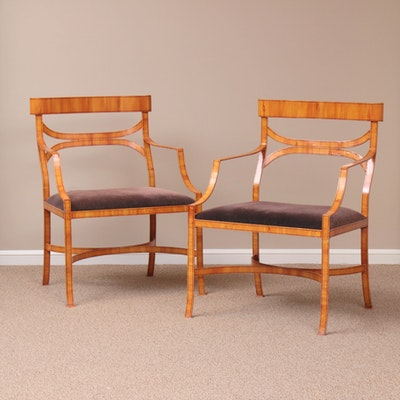 Pair of Wood Grain Painted Wrought Steel Armchairs