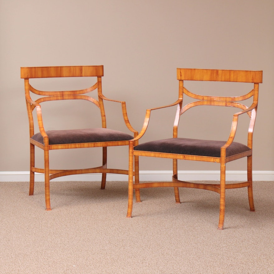 Pair of Wood Grain Painted Wrought Steel Armchairs