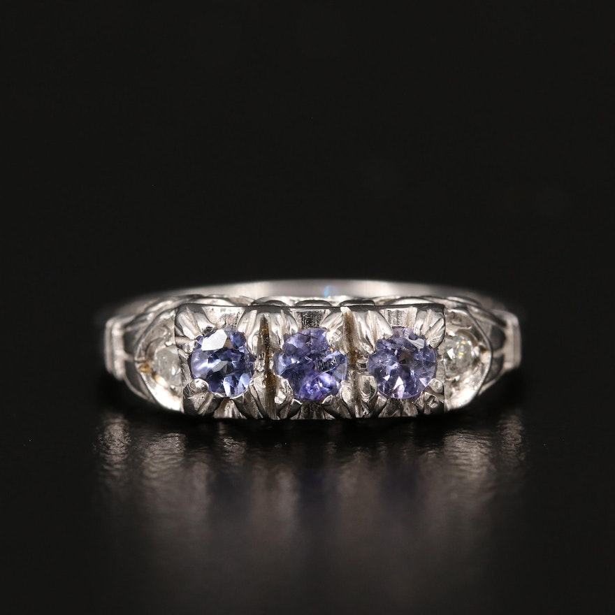 18K Diamond and Tanzanite Ring