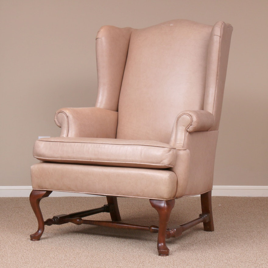 Ethan Allen Queen Anne-Style Leather-Upholstered Wingback Armchair