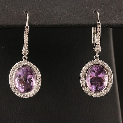 14K Amethyst and Diamond Dangle Earrings