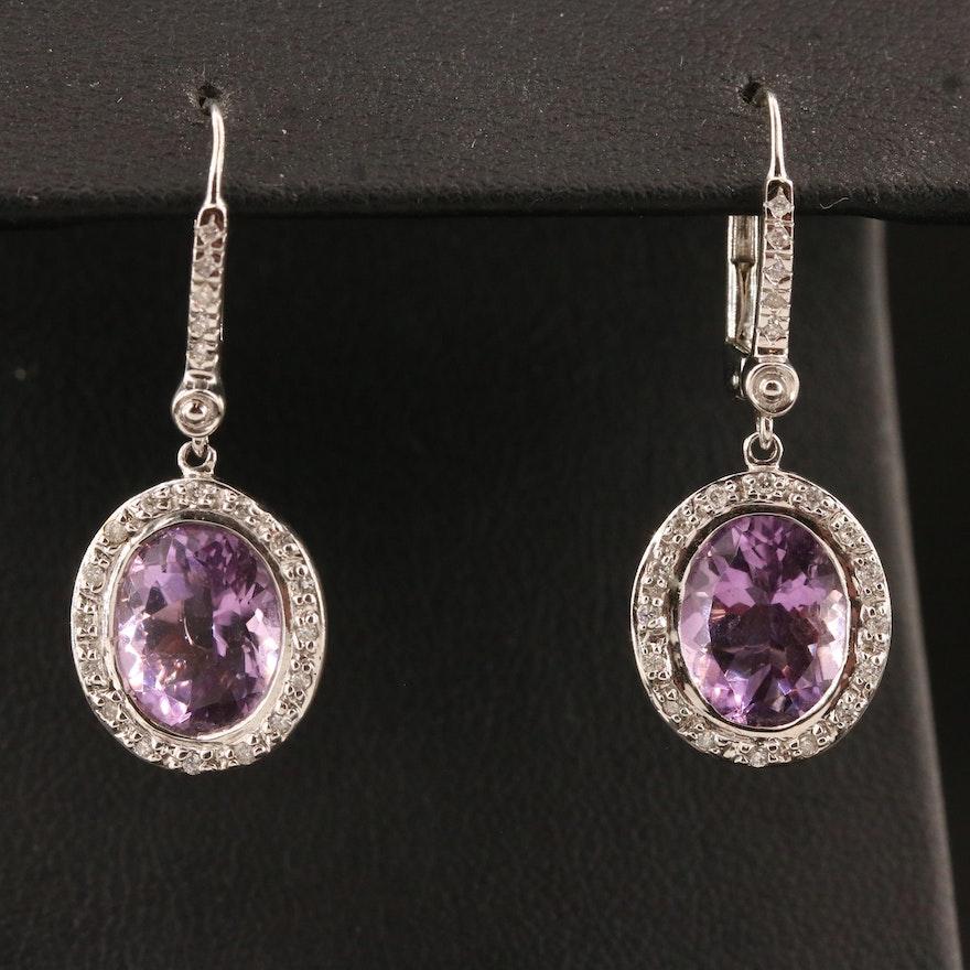 14K Amethyst and Diamond Dangle Earrings
