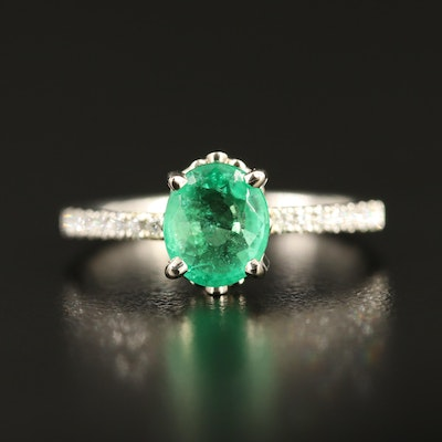Platinum 1.57 CT Brazilian Emerald Ring with 14K Accent Diamond Shoulders AGL