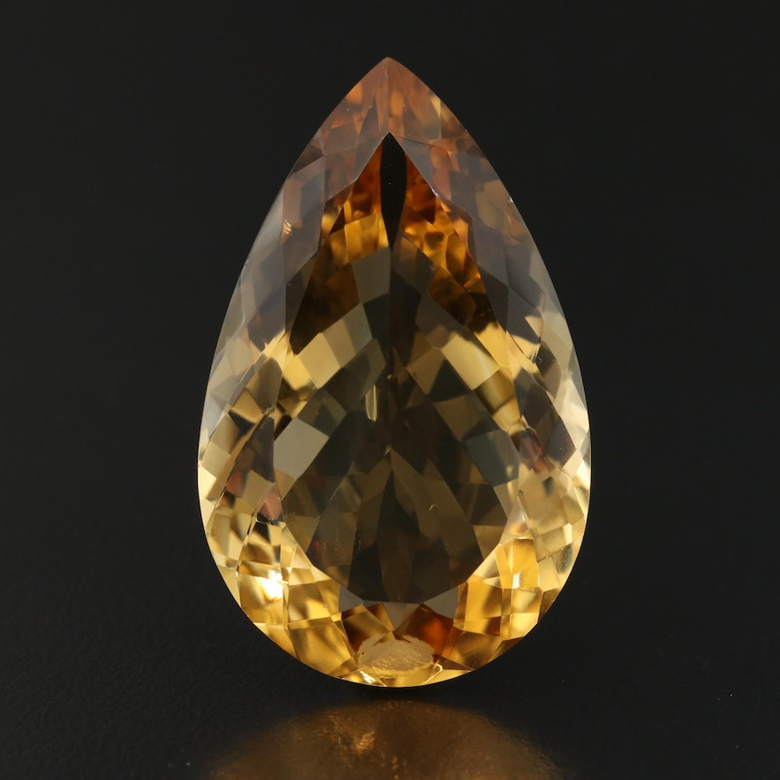 Loose 68.22 CT Pear Faceted Citrine