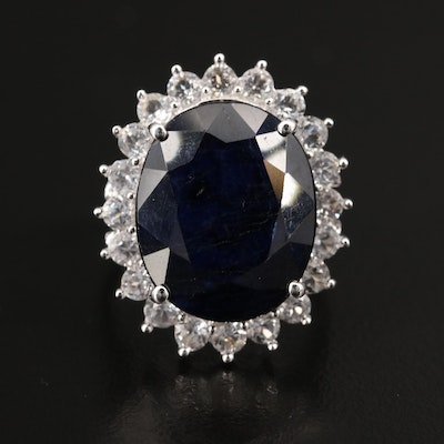Sterling Sapphire and White Sapphire Ring