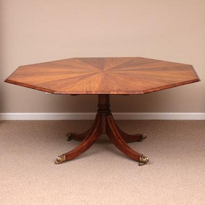 Regency Style Contrasting Veneer Pedestal Dining Table