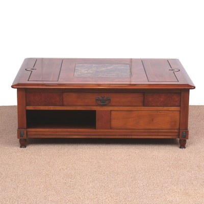Burl Wood, Marble and Mahogany-Stained Coffee Table