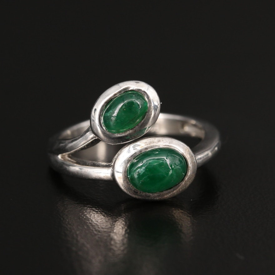 Sterling Emerald Cabochon Ring