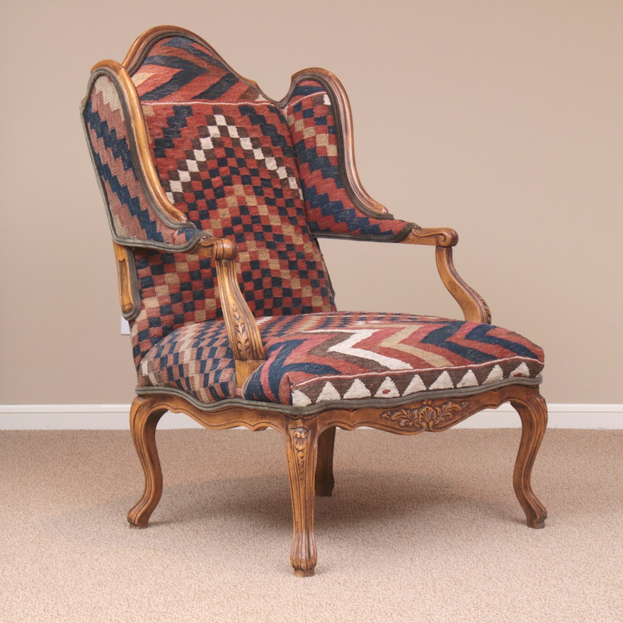 Baker Turkish Kilim-Upholstered French Provincial-Style Wingback Armchair