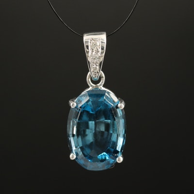 14K Topaz and Diamond Pendant
