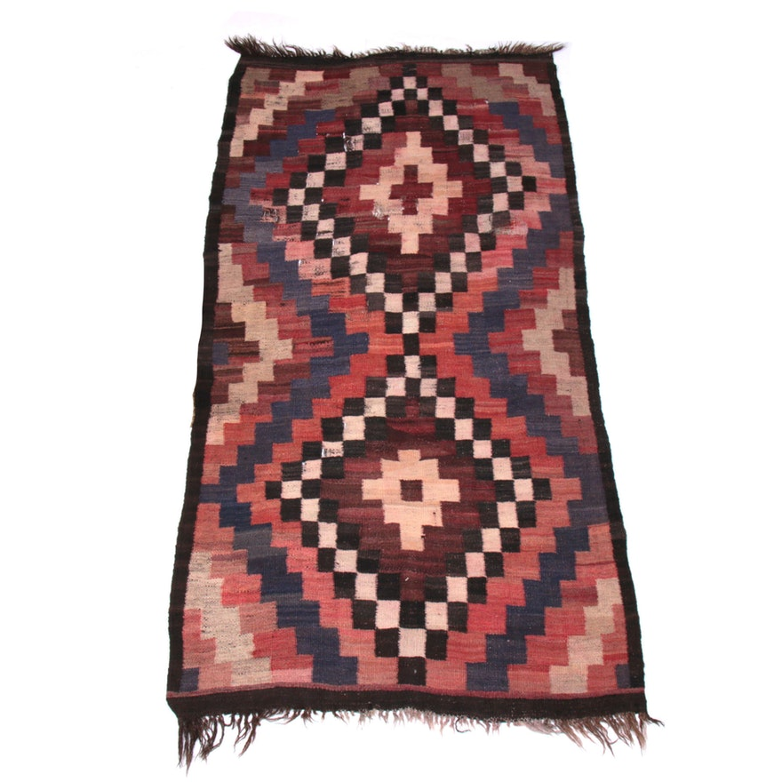 3'1 x 6'2 Handwoven Turkish Kilim Rug, 20th Century