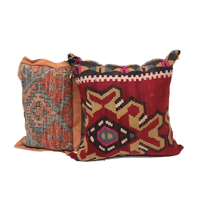 Handwoven Turkish and Caucasian Kazak Kilim Throw Pillows