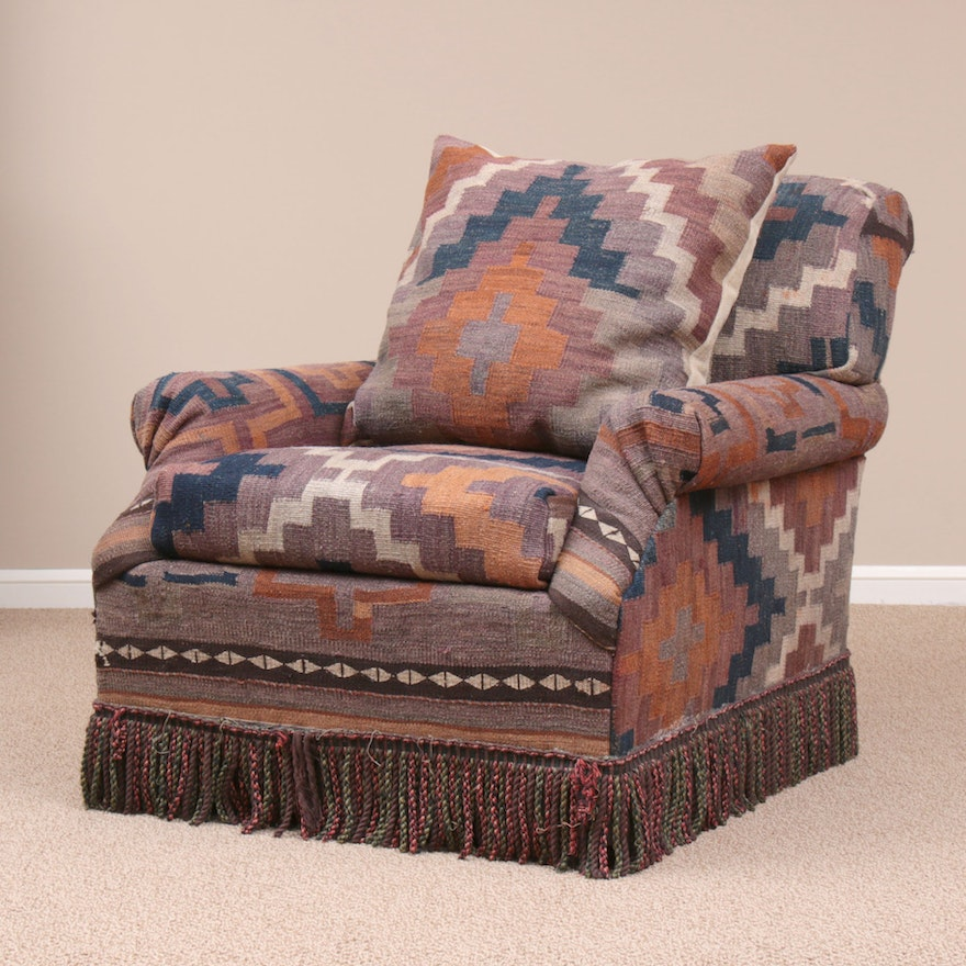 Handwoven Turkish Kilim-Upholstered Armchair with Throw Pillow