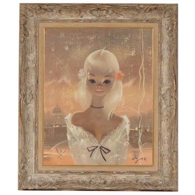 Igor Pantuhoff Stylized Portrait Acrylic Painting of Young Girl
