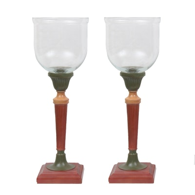 Pair of Neoclassical-Style Polychrome Metal and Glass Candle Hurricanes