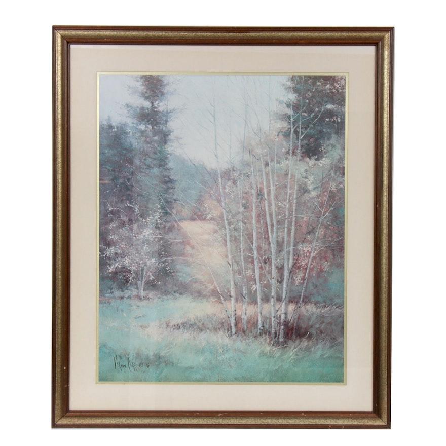 Offset Lithograph Landscape Painting After Vernon Kerr