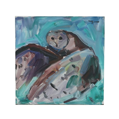 "Jose Trujillo Oil Painting ""Barn Owl"", 2019"