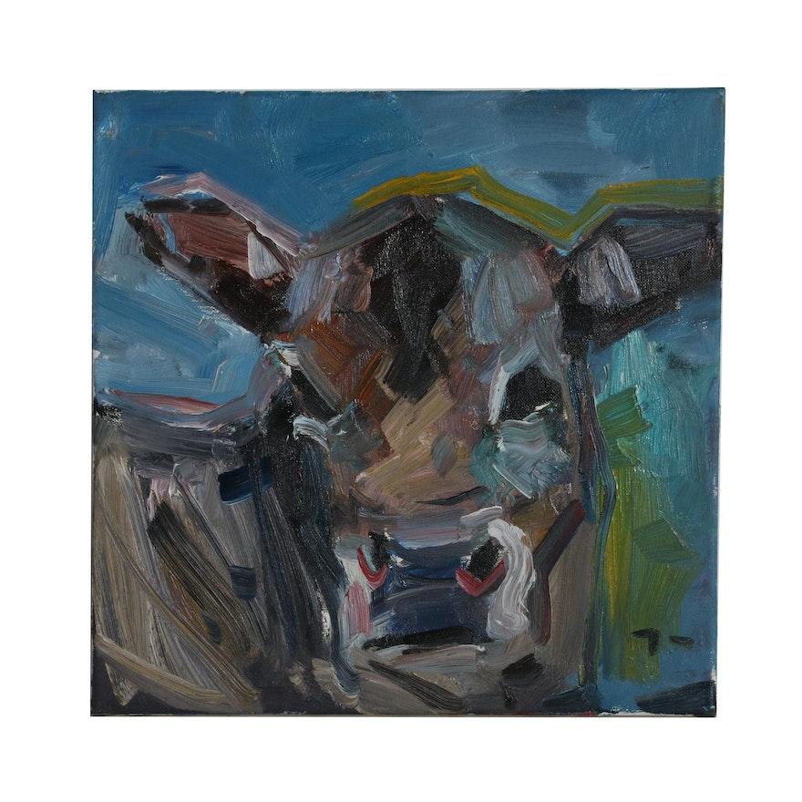 "Jose Trujillo Oil Painting ""Jersey Cow,"" 2019"