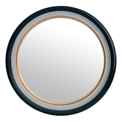 Polychrome Wood Circular Wall Mirror