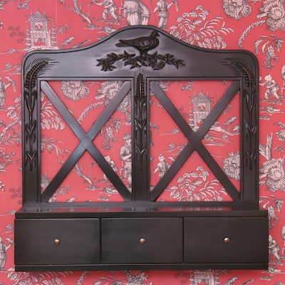 Contemporary Carved Wood Three-Drawer Wall Shelf