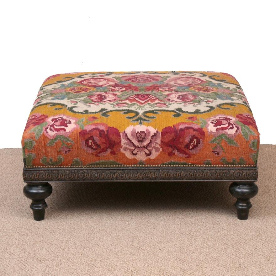 Handwoven Turkish French Aubusson Kilim Upholstered Oversize Ottoman