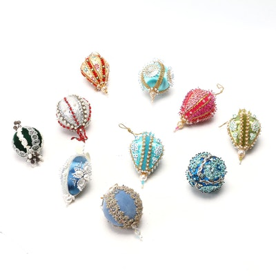 Ornate Hand-Pinned Bead, Ribbon and Lace Christmas Tree Ornaments