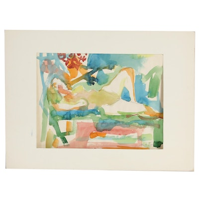 Yolanda Fusco Embellished Watercolor Painting of Reclining Female Nude