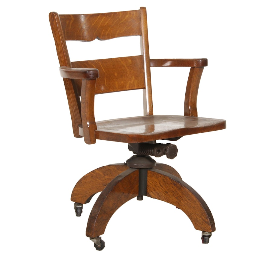 Oak Swivel Banker's Chair, Early to Mid 20th Century