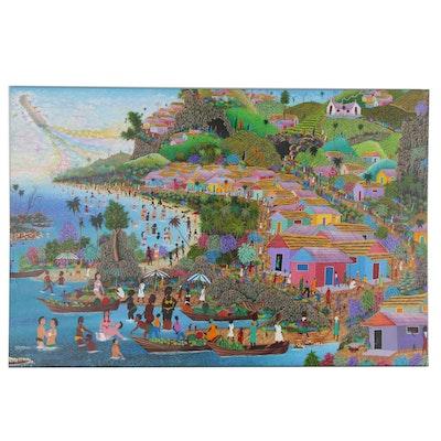 Fritz Millevoix Haitian Folk Art Mixed Media Painting of Beach Scene
