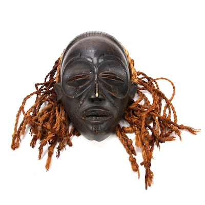 Chokwe Hand-Carved Wooden Mask, Central Africa