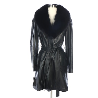 Black Lambskin Leather Belted Coat with Removable Dyed Fox Fur Collar