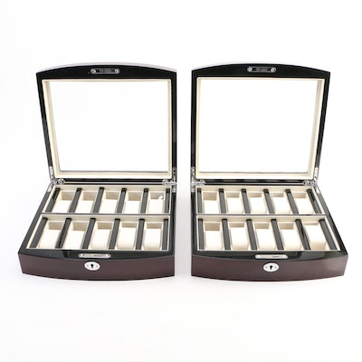 Pair of Locking Watch Cases with High Gloss Wood Finish