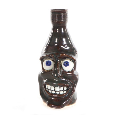 Monika van Hine Folk Art Ceramic Face Jug, 21st Century