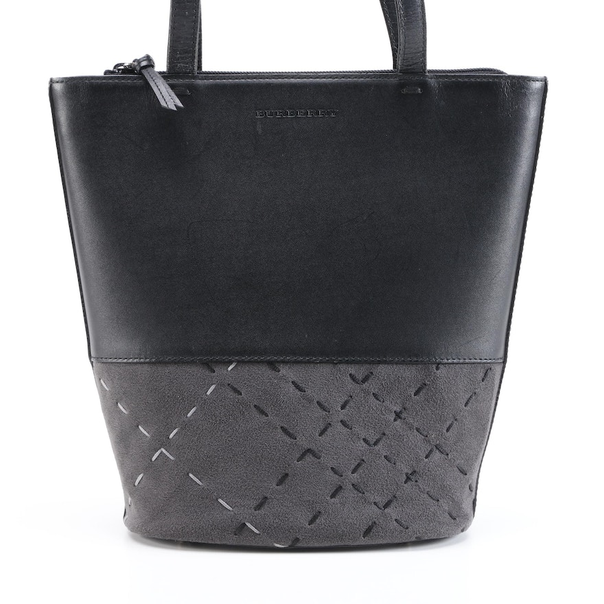 Burberry Embroidered Check Textile and Black Leather Bucket Bag